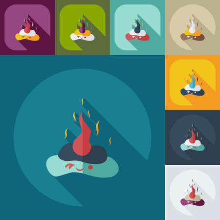 bullshit: Flat modern design with shadow icons turd, faeces