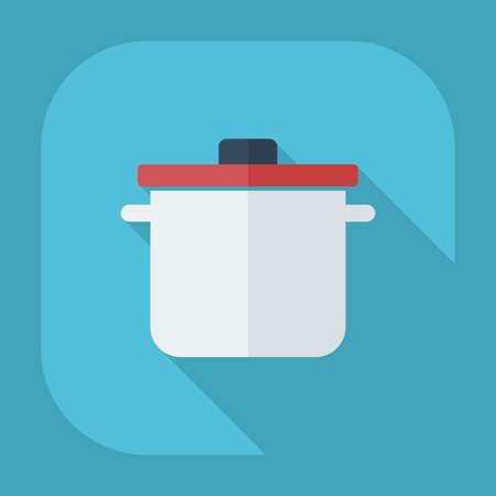 saucepan: Flat modern design with shadow icons saucepan