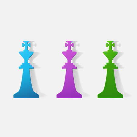 chessman: Paper clipped sticker: Chessman King. Isolated illustration icon