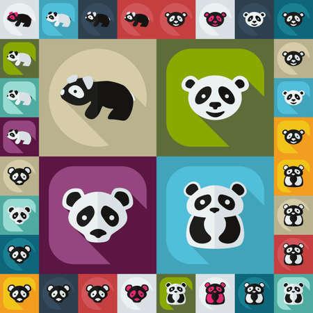Flat concept, set modern design with shadow pandas Illustration