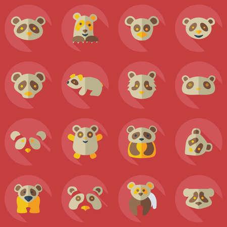dormouse: Flat concept, set modern design with shadow pandas Illustration