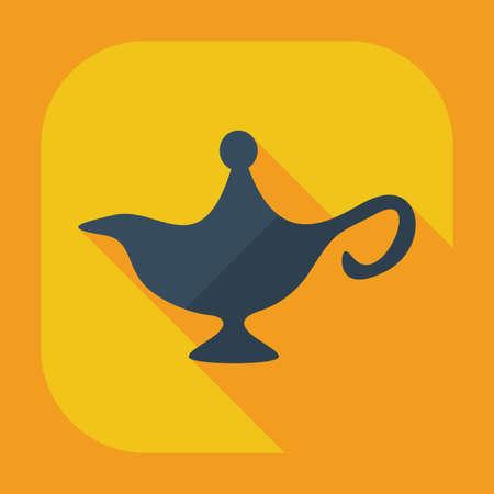 genie: Flat modern design with shadow icons genie lamp Illustration