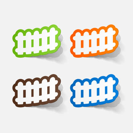 fence post: paper sticker: Wooden fence. Isolated illustration icon