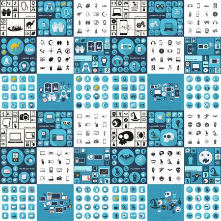 router: Flat concept, set modern design technology, Ramadan, equipment, halloween Illustration