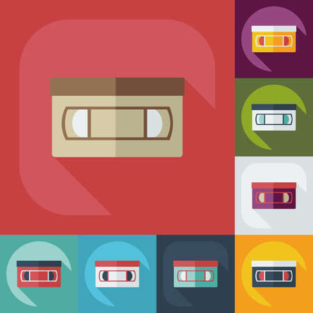 videotape: Flat modern design with shadow icon VHS tape