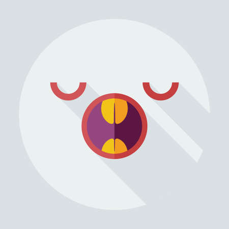 yawning: Flat modern design with shadow icons smiley yawning Illustration