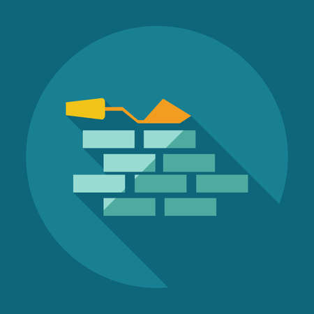stonework: Flat modern design with shadow icons wall Illustration