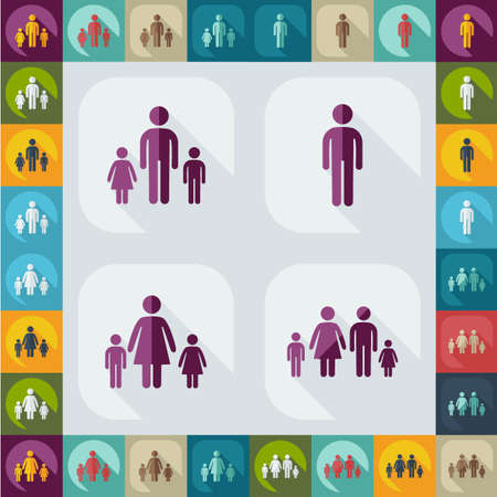 father and son holding hands: figure stick icon vector  peaople