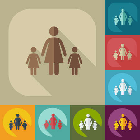 two parent family: figure stick icon vector  peaople
