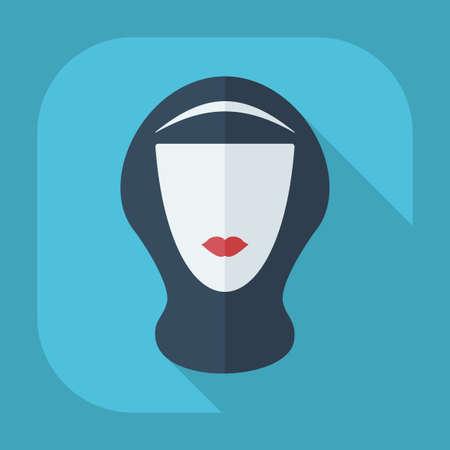 niqab: Flat modern design with shadow eastern woman in niqab Illustration