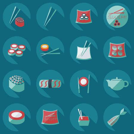 bean curd: Flat concept, set modern design a unique collection of sushi Illustration