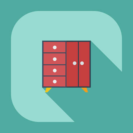 chest of drawers: Flat modern design with shadow icons chest of drawers Illustration