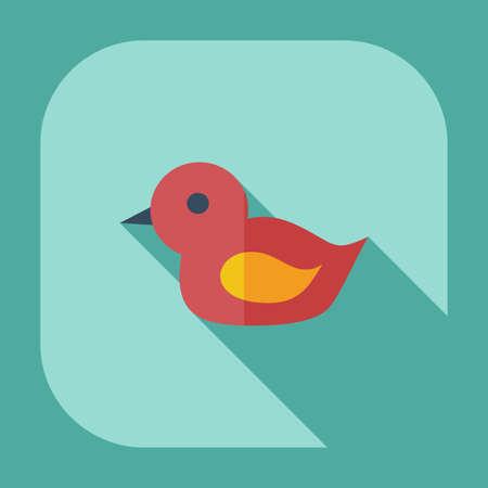 squeak: Flat modern design with shadow icons duck bath Illustration