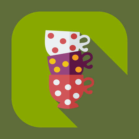 luncheon: Flat modern design with shadow icons cup Illustration