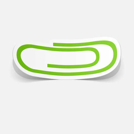 paper fastener: Paper clipped sticker: paper clip . Isolated illustration icon
