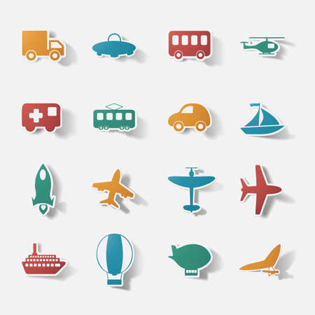 boeing: Paper clipped sticker: transport Set. Isolated illustration icon