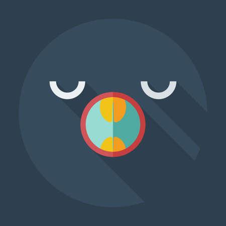 yawn: Flat modern design with shadow icons smiley yawning Illustration