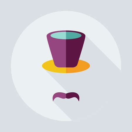 style goatee: Flat modern design with shadow icons mustache hat Illustration