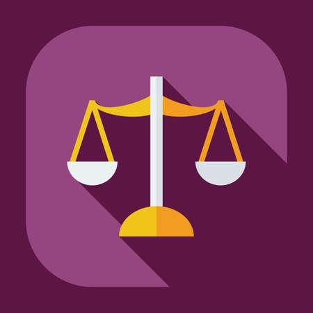 tribunal: Flat modern design with shadow icons law Illustration