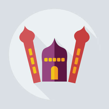 social history: Flat modern design with shadow icons mosque