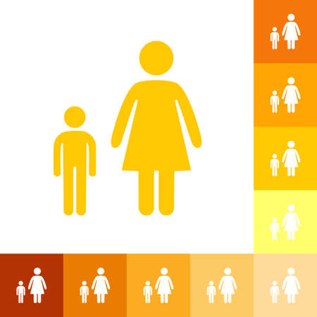 two parent family: stick figure man silhouette icon. Illustration