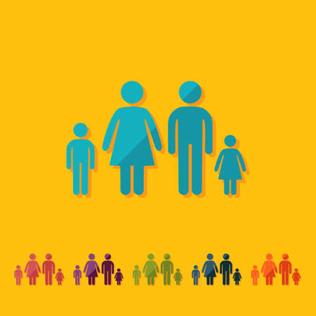 father and son holding hands: stick figure man silhouette icon. Illustration