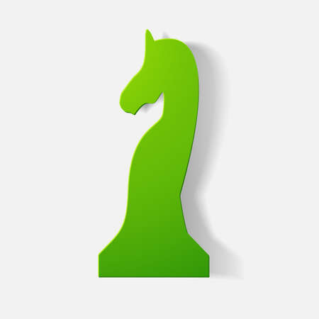 piece of paper: Paper clipped sticker: chess piece horse. Isolated illustration icon