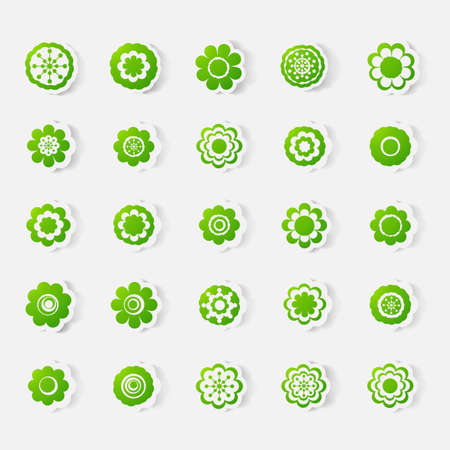 eco notice: Paper clipped sticker: set of flowers. Isolated illustration icon