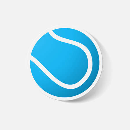 tennisball: Paper clipped sticker: tennis ball. Isolated illustration icon Illustration