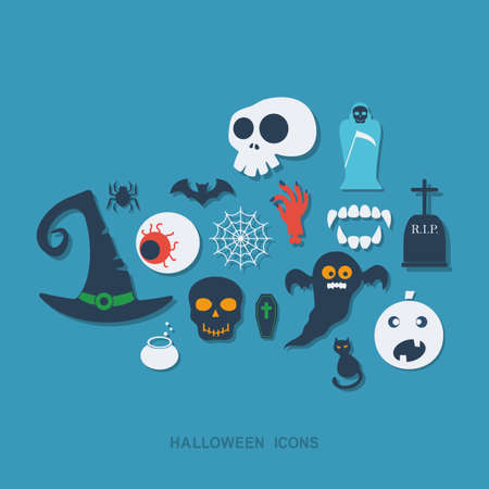 halloween black cat: Flat concept, set modern design with shadow halloween