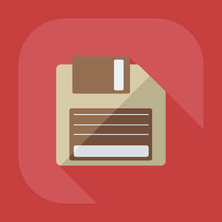 diskette: Flat modern design with shadow icon diskette