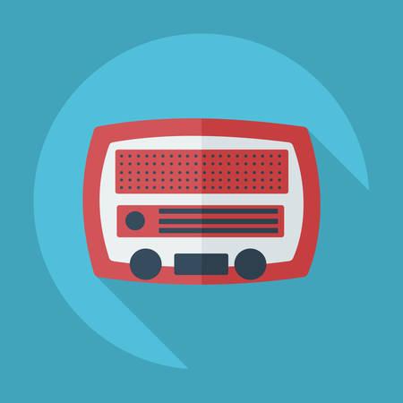 old radio: Flat modern design with shadow old radio