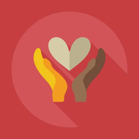 cherish: Design piatto moderno con icone ombra amare l'amore Vettoriali