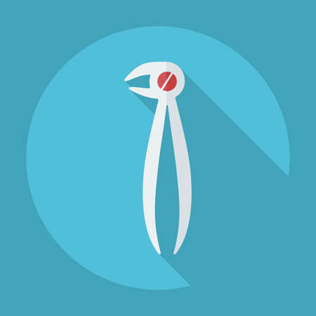 premolar: Flat modern design with shadow dental pliers Illustration