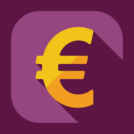 european currency: Flat modern design with shadow icons currency unit Illustration