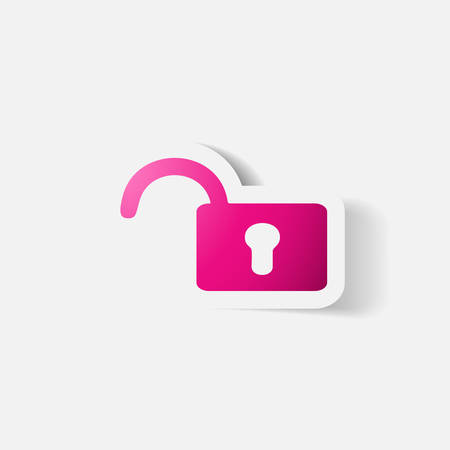 secret codes: Paper clipped sticker: lock. Isolated illustration icon