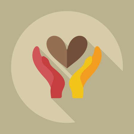 curare teneramente: Design piatto moderno con icone ombra amare l'amore Vettoriali