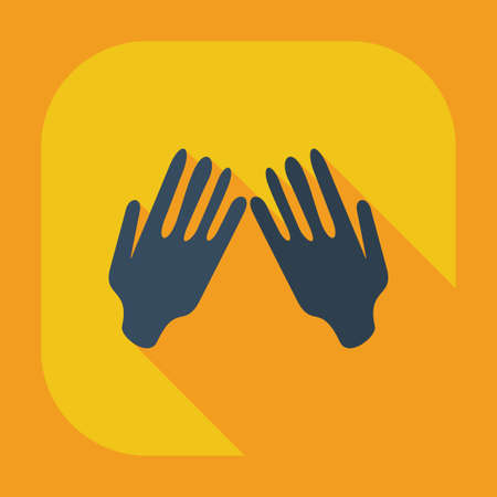 praying hands: Flat modern design with shadow icons praying hands