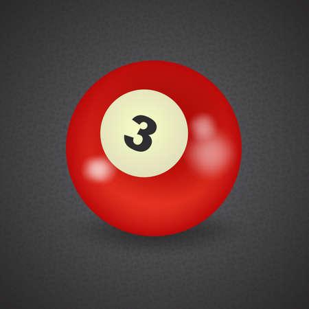 set of billiard balls, billiards, American ball number 3 向量圖像