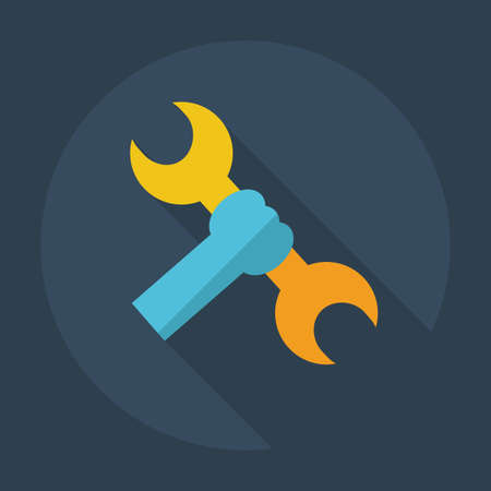 Flat modern design with shadow icons wrench