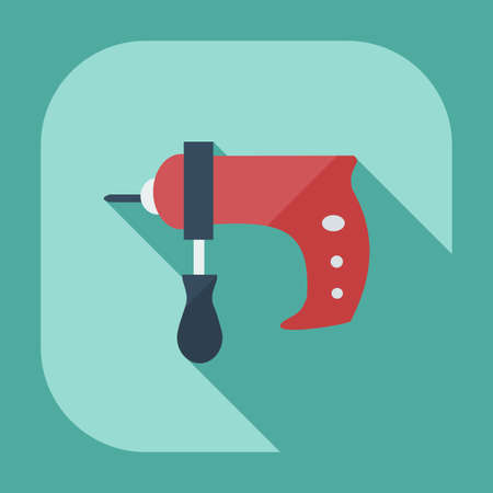 Flat modern design with shadow icons drill