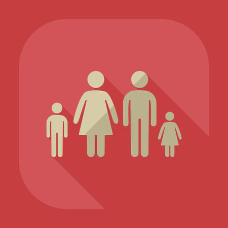 father and son holding hands: stick figure family dad mom son daughter Illustration