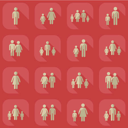 father and son holding hands: assembly set stick figures on family Illustration