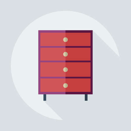diaper changing table: Flat modern design with shadow icons commode Illustration