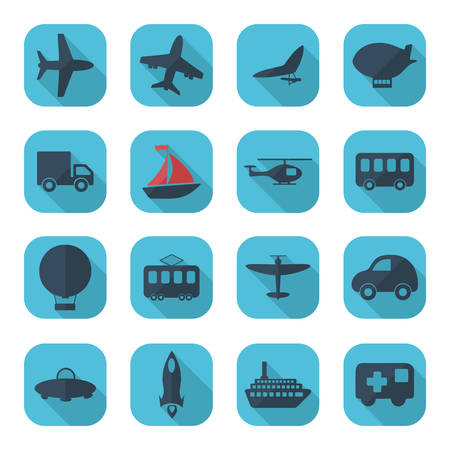 on air sign: Flat concept, set modern design transportation, vehicle