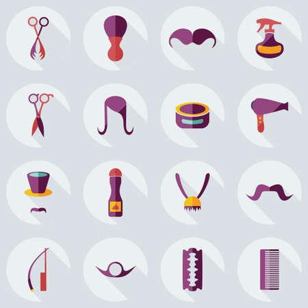 hair spray: Flat concept, set modern design with shadow style