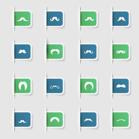 Set, a collection of unique paper stickers mustache Ilustração