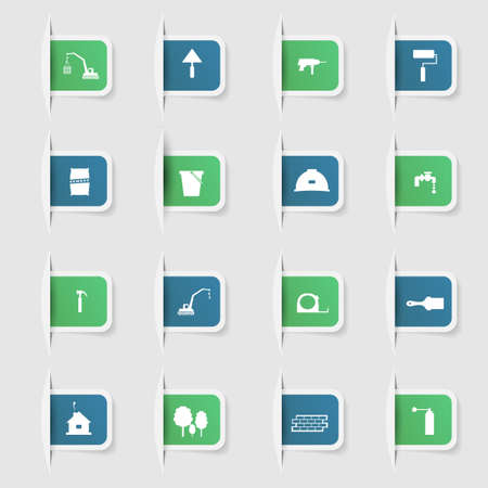 Set, a collection of unique paper stickers construction icons  イラスト・ベクター素材