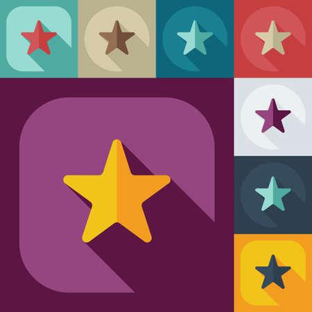 Flat modern design with shadow icons star Ilustração