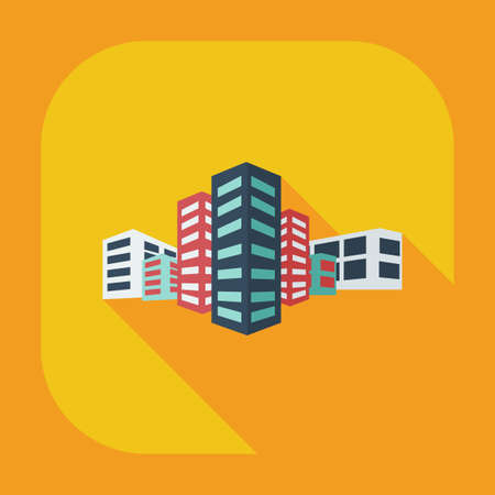 Flat modern design with shadow icons building  イラスト・ベクター素材